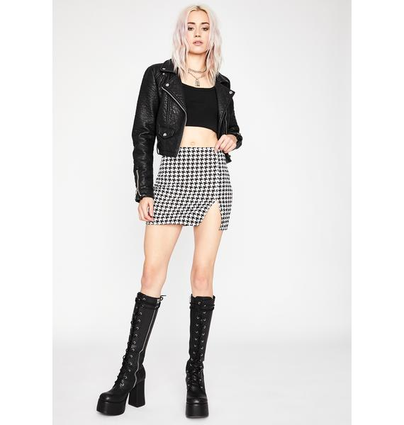 Posh To Death Houndstooth Skirt