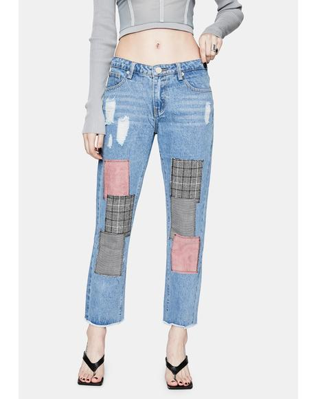 Wild For Life Distressed Patch Jeans