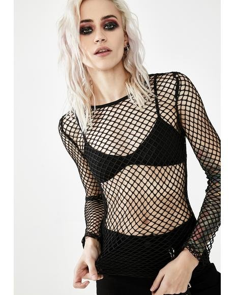Punk Sexy Big Grid Fishnet Top