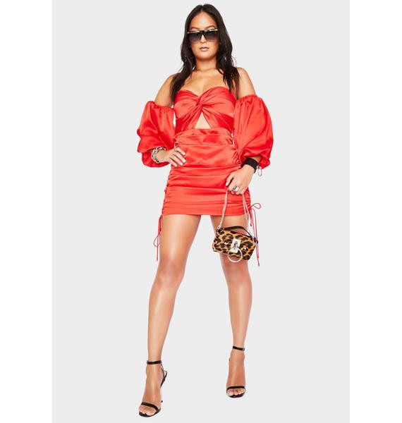 Runaway the Label Red Pouffe Sleeve Mini Dress