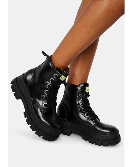 Black Aspha Lace Up HI Booties