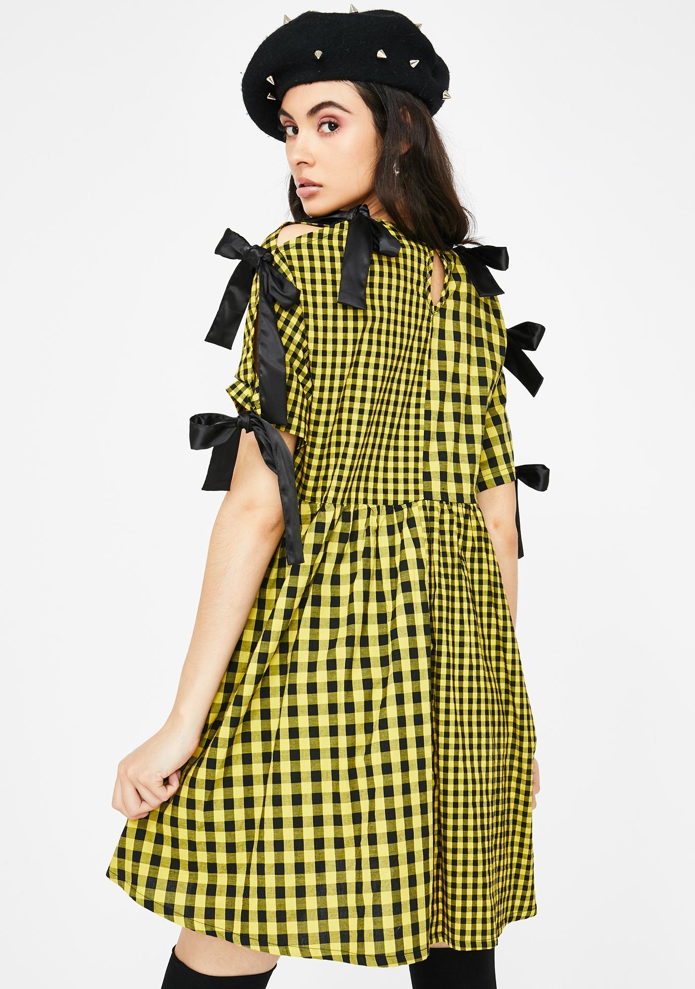 Lazy Oaf Yellow Tie Sleeve Smock Dress