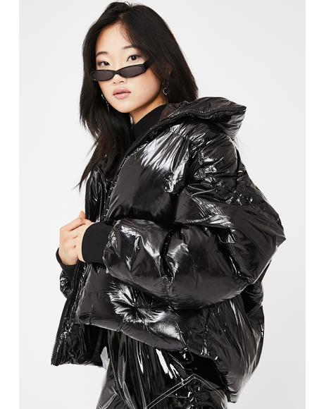 Black Oversized Vinyl Puffer Coat