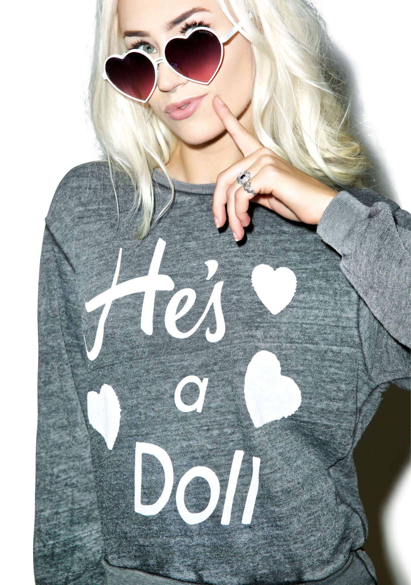 Wildfox Couture He's A Doll Love Story Pullover