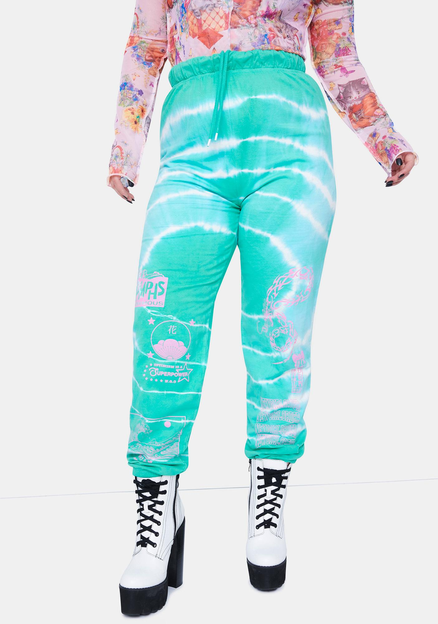 NEW GIRL ORDER Curve Dragon Tie Dye Joggers