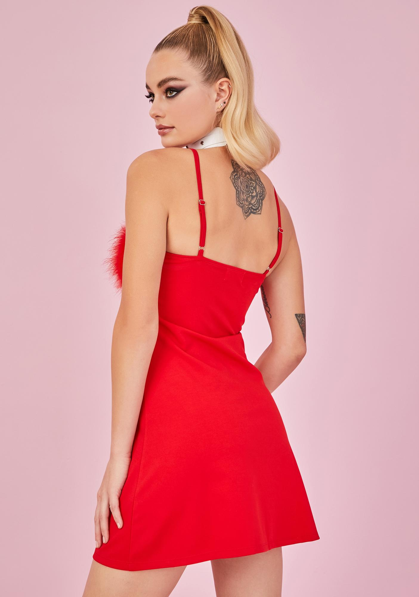 Sugar Thrillz Scarlet Flirty N' Thriving Marabou Dress