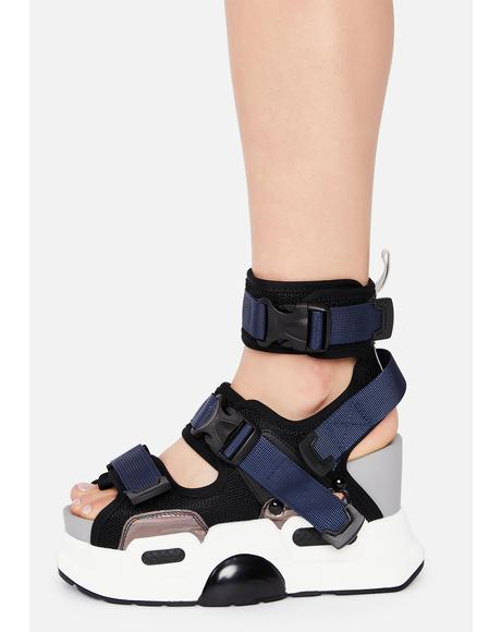 Black Holographic Mulberry Platform Sandals