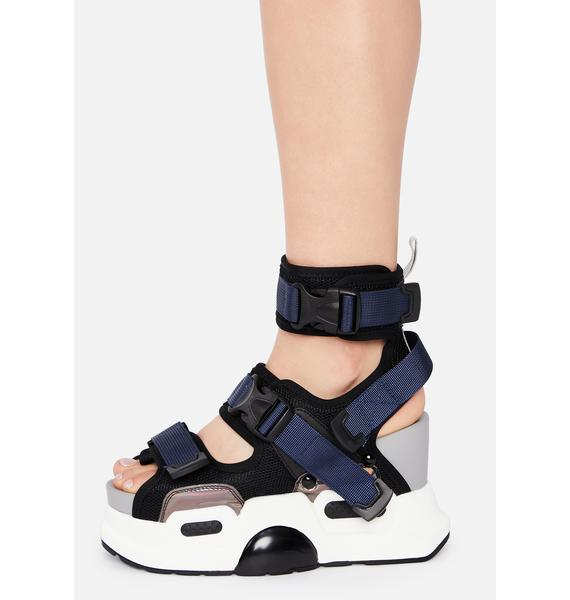Anthony Wang Black Holographic Mulberry Platform Sandals