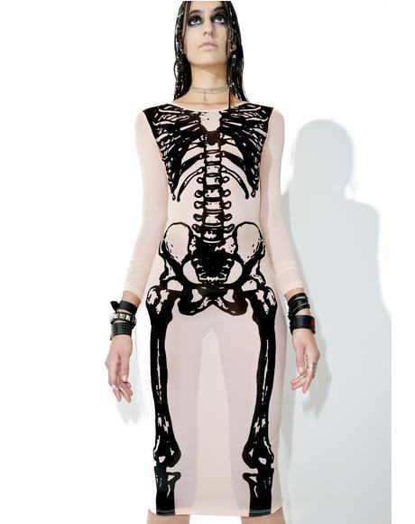 Wishbone Mesh Midi Dress