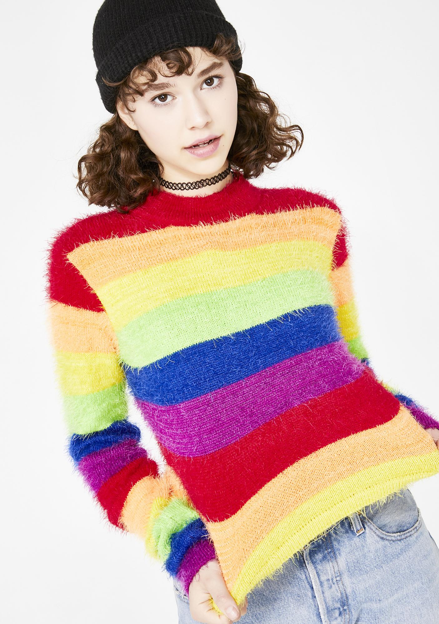 Current Mood Dream In Color Fuzzy Sweater
