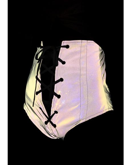 Reflective Lace-Up Corset Briefs