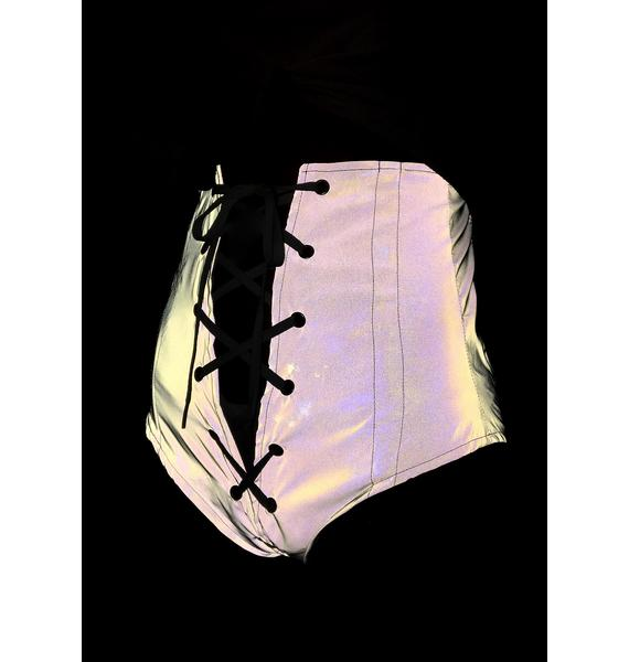 My Mum Made It Reflective Lace-Up Corset Briefs