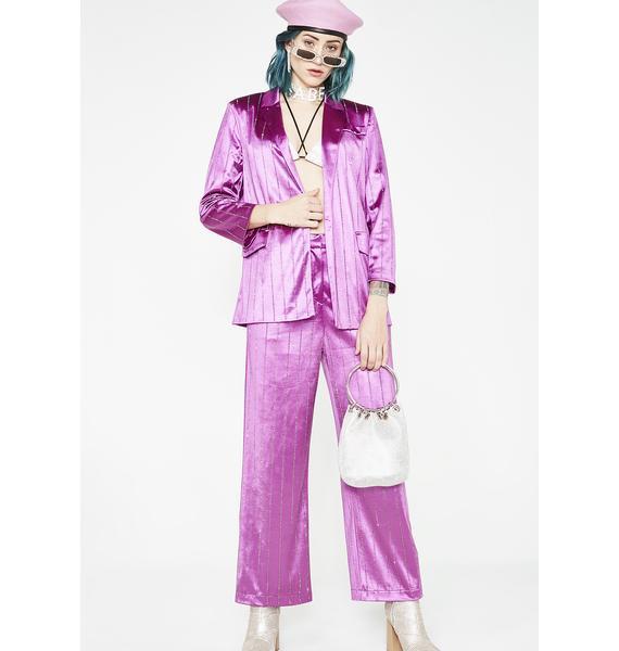 Jaded London Rhinestone Pinstripe Suit Jacket