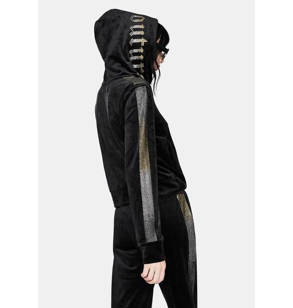 JUICY COUTURE Black Rhinestone Zip Up Hoodie