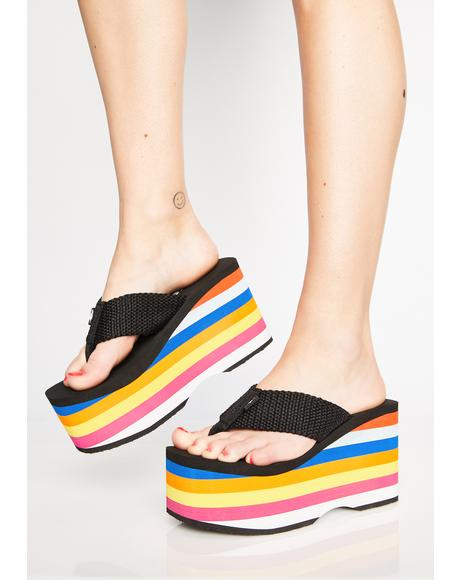 Rainbow Big Top Flip Flops