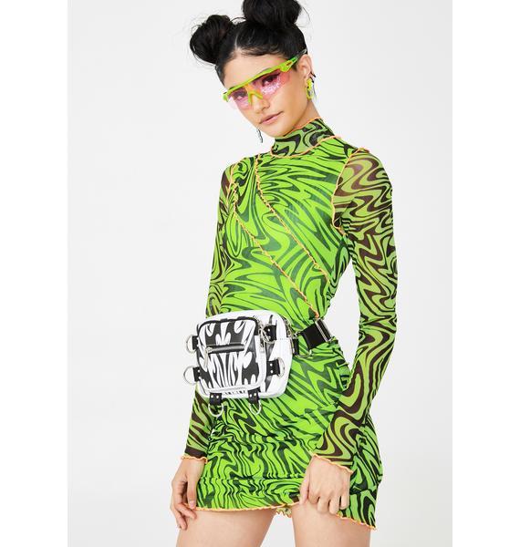 Jaded London Green Psychedelic Printed Mini Dress