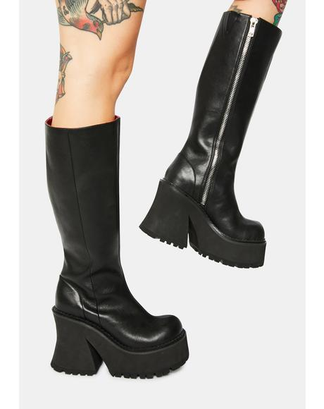 Geaux Geaux Knee High Platform Boots