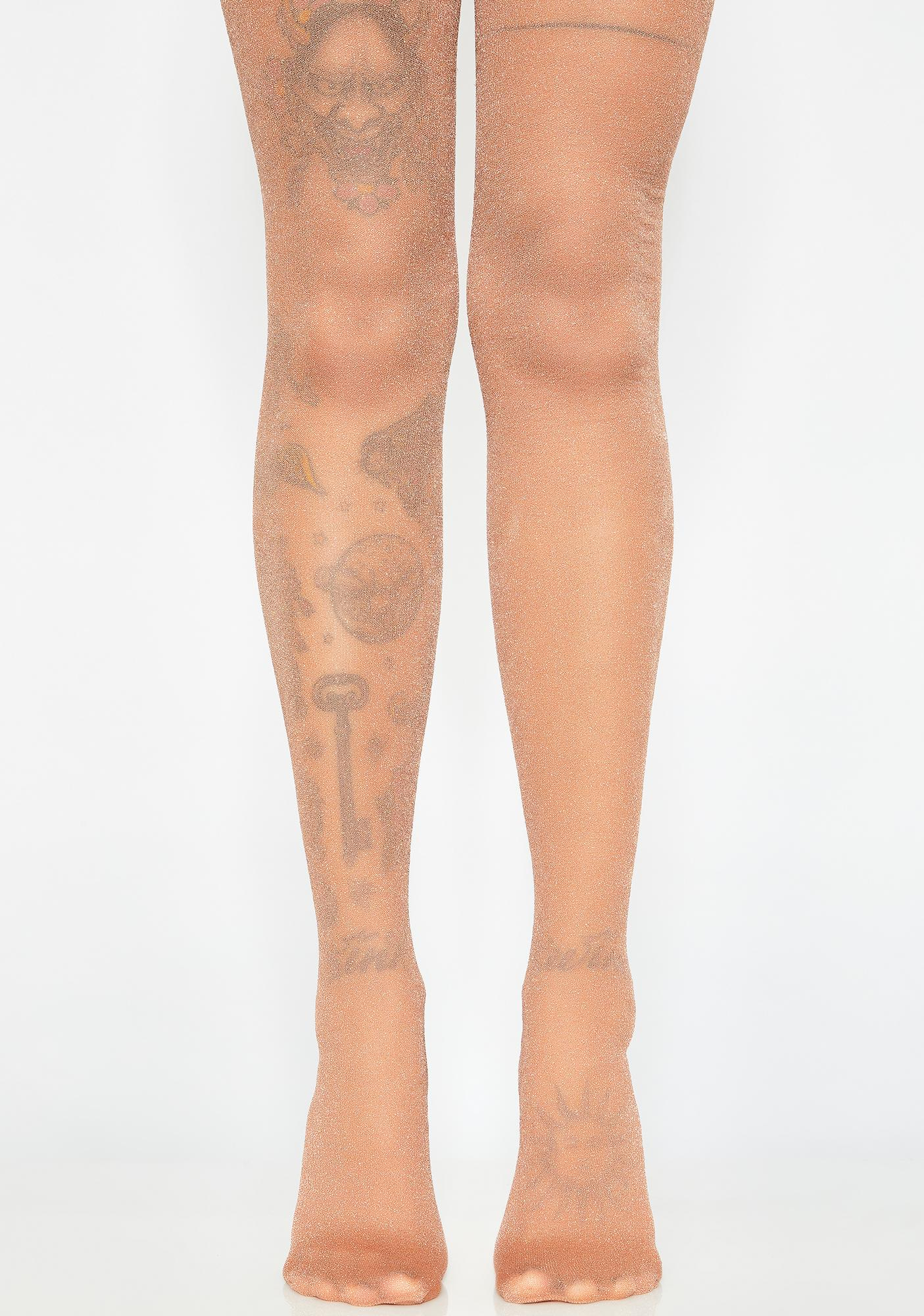 Remarkable, gold shimmer pantyhose with