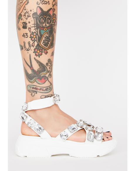 Icy Sparkin' Strut Platform Sandals