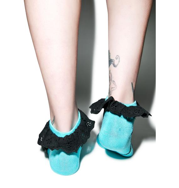 Too Fast Sea Garden Eyelet Socks