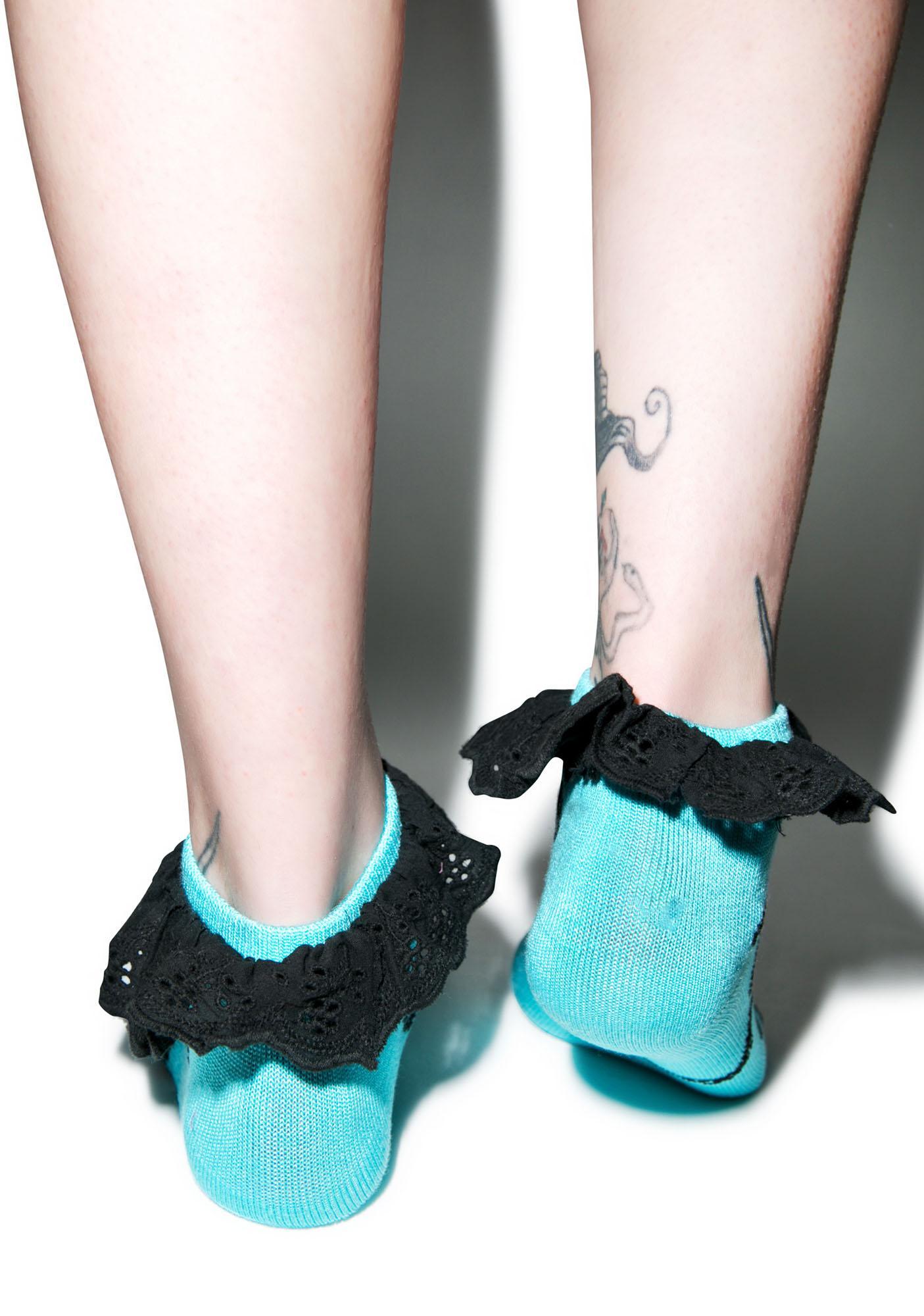 Too Fast Sea Garden Eyelet Socks