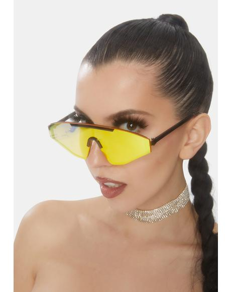 Caution Carry Me Home Shield Sunglasses