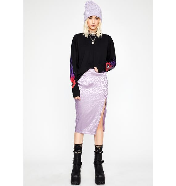 Silky Silent Stalker Midi Skirt
