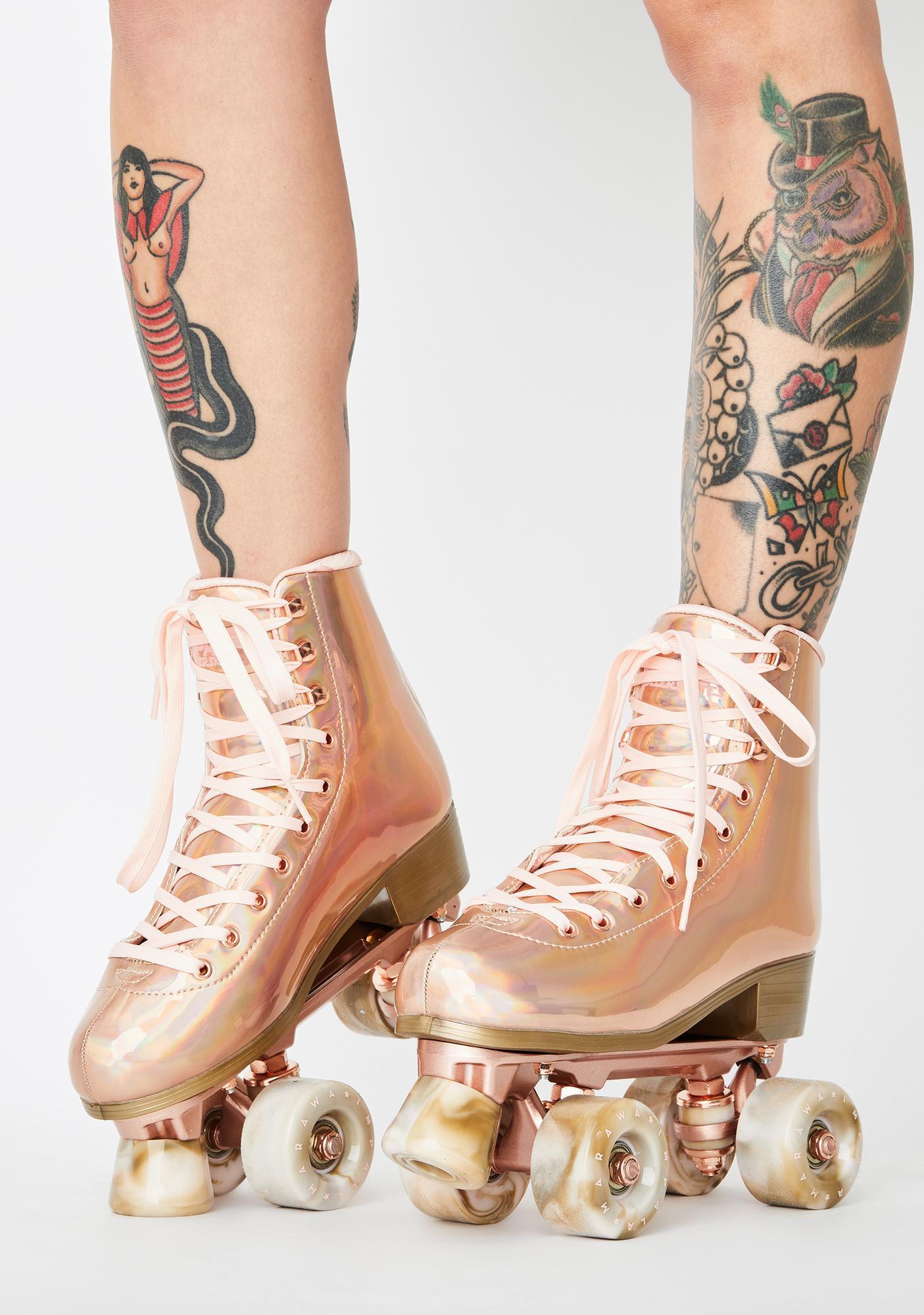 Size: 8 Quad Roller SkatesVegan Rose Gold WomensMarwa Impala