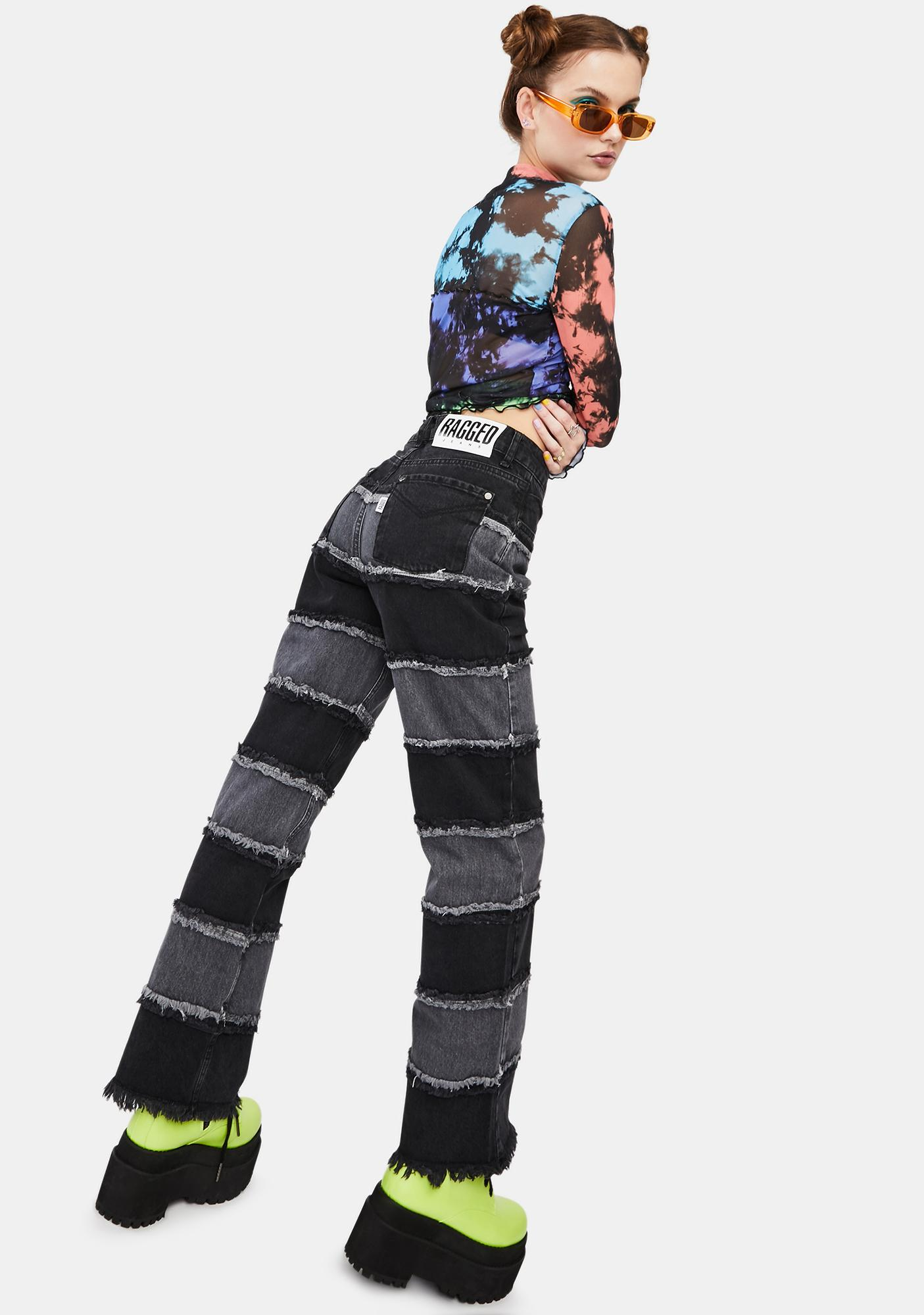 The Ragged Priest Charcoal Infringement Stripe Panel Jeans