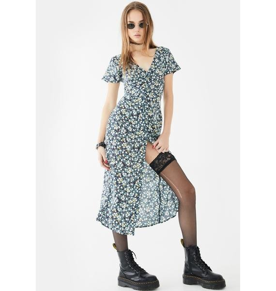 Motel Navy Floral Larin Midi Dress