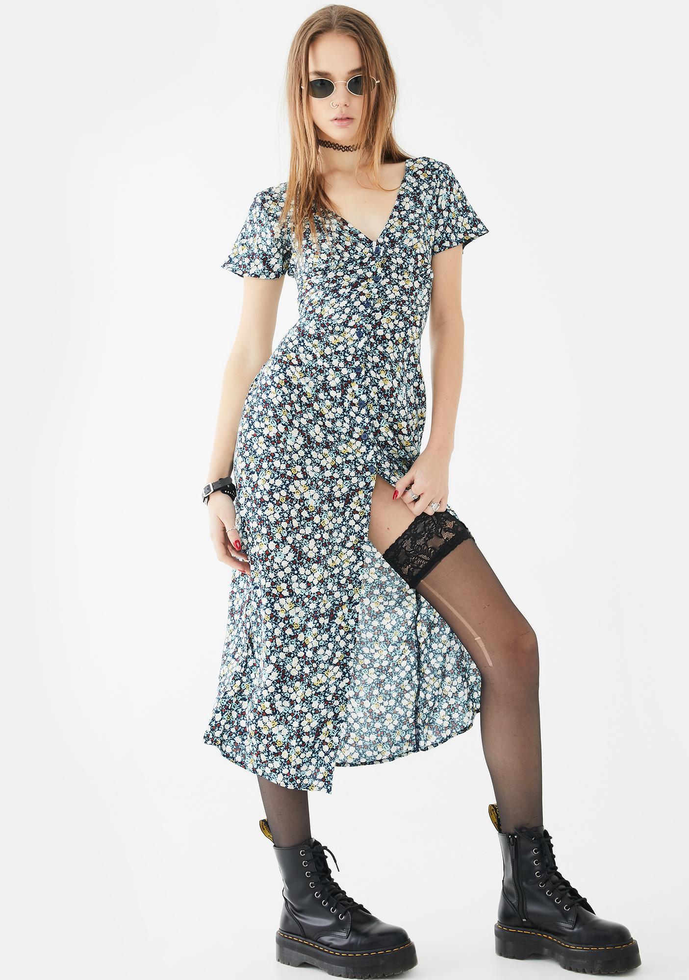Motel Navy Floral Larin Midi Dress