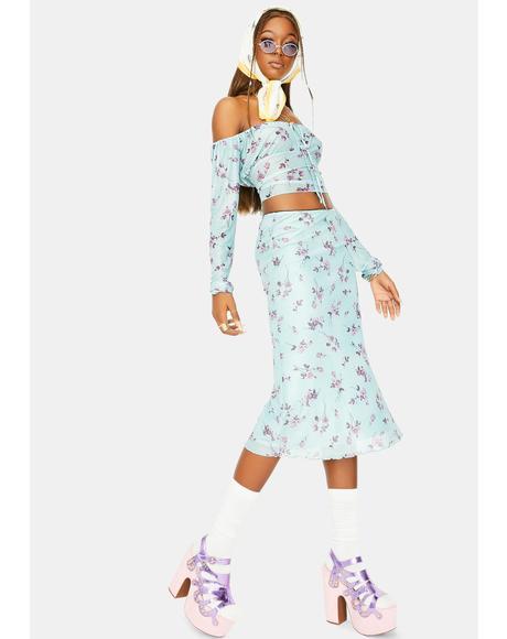 Lilac Rose Khaki Taura Midi Skirt