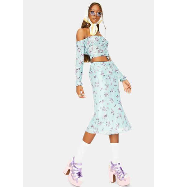 Motel Lilac Rose Khaki Taura Midi Skirt