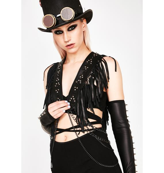 Love Khaos Fringe Vest With Chains