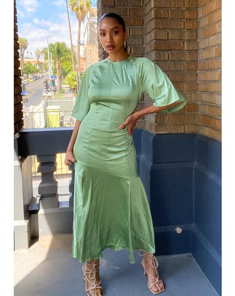 Green Satin Midi Dress