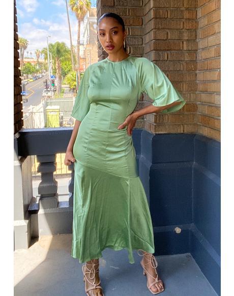 Green Satin Midi Dress