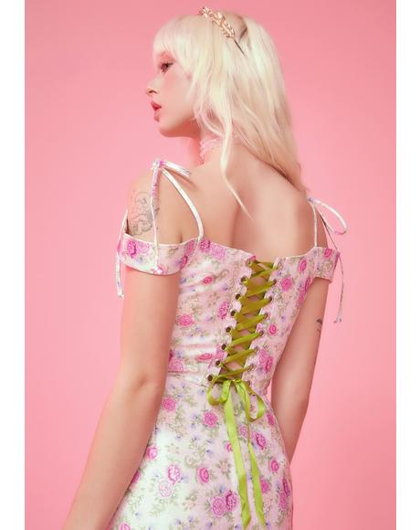 Blooming Polaroid Fever Corset Top