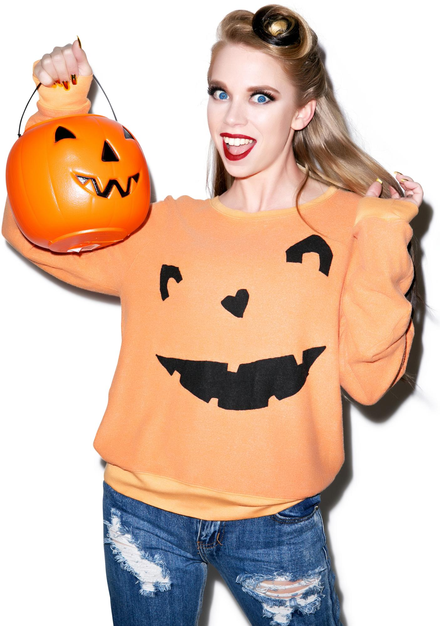 cb3ff255e6 Wildfox Couture Happy As A Pumpkin Baggy Beach Jumper | Dolls Kill