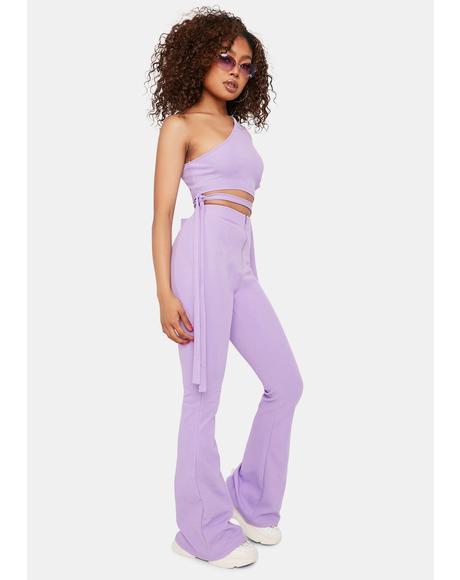 Lavender The Last Straw Flare Pants Set