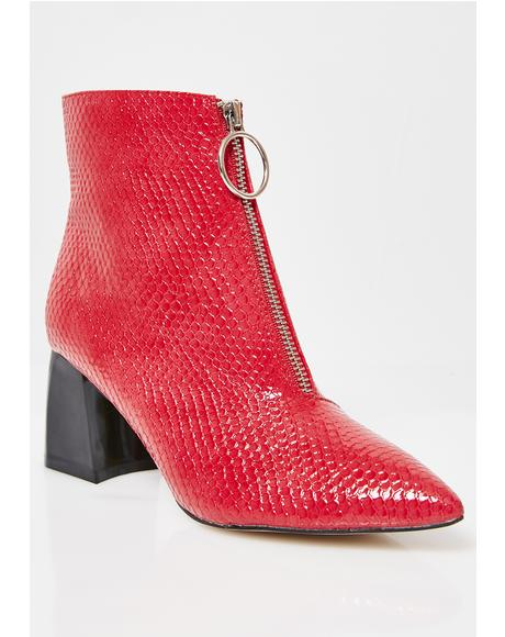 Instinct Patent Zip Front Ankle Boots