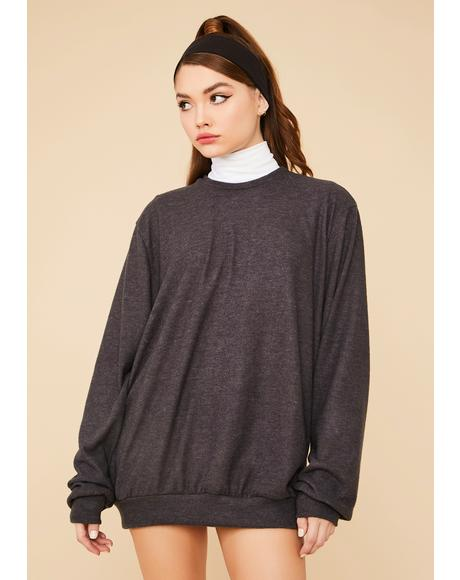 Charcoal Easy Going Mini Sweatshirt Dress