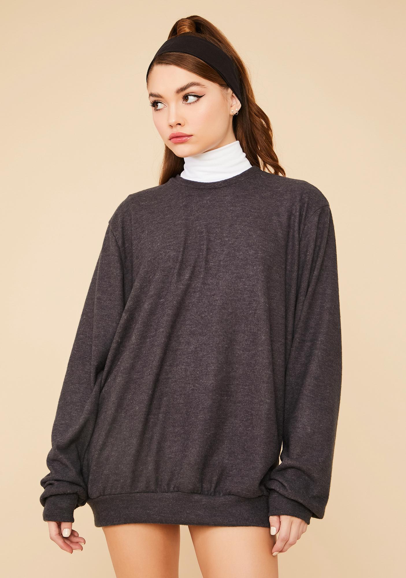 Charcoal Easy Going Mini Sweatshirt Dress