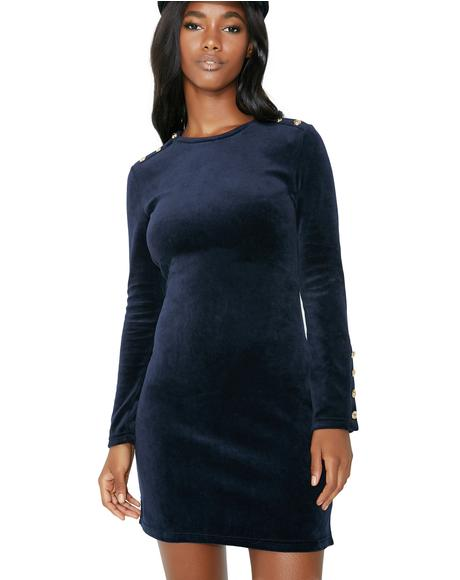 Stretch Velour Solid Fitted Dress