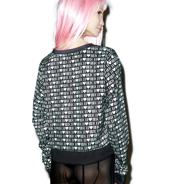 Wildfox Couture Bitch Heart Pop Art Sweater