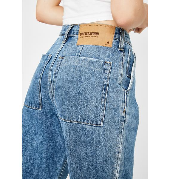 One Teaspoon Hawaii Blue Safari High Waist Relaxed Jeans