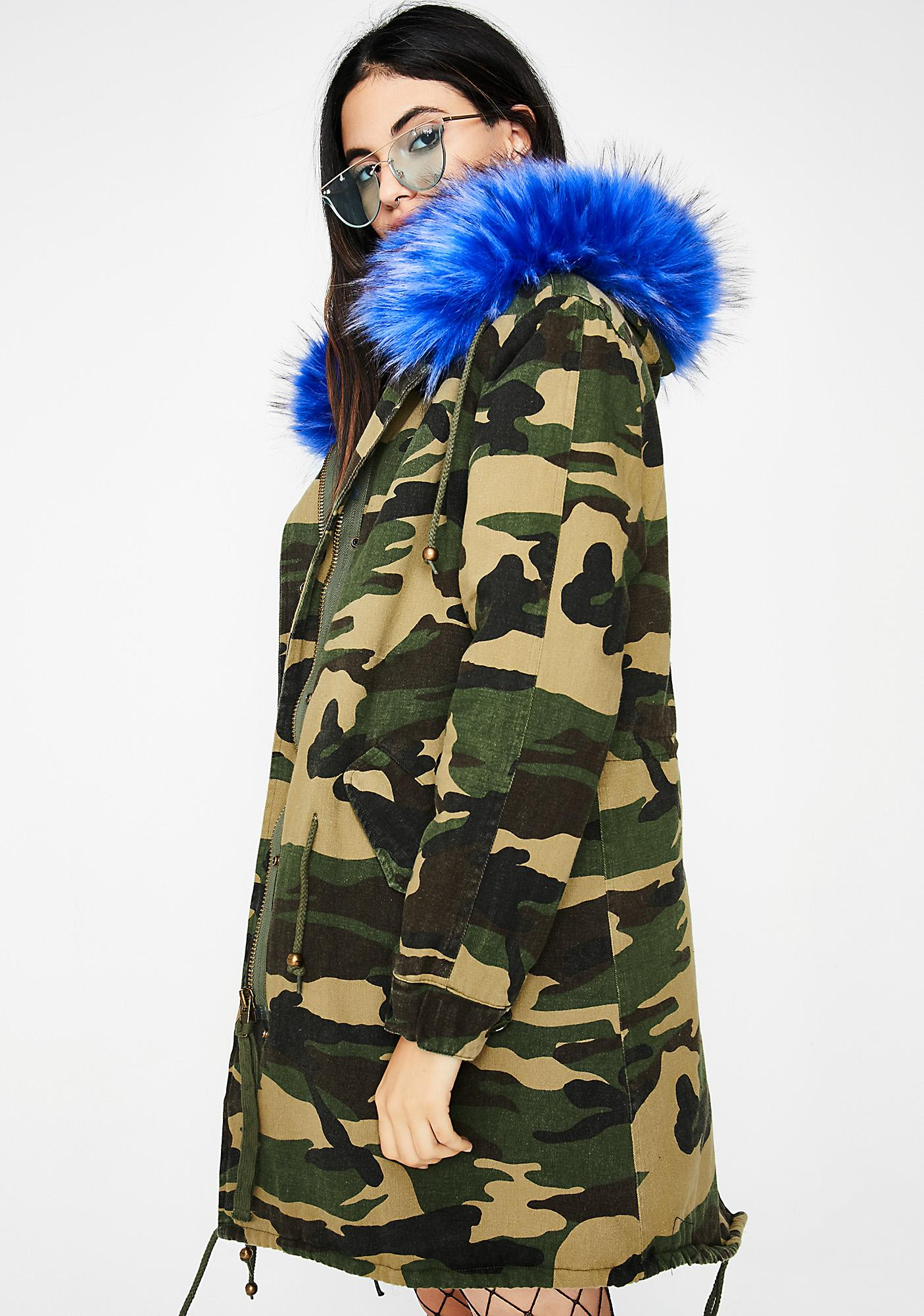 Camo Ruffled Feathers Parka