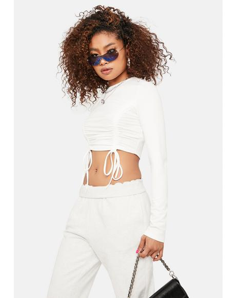 Ivory Impress Me Drawstring Crop Top