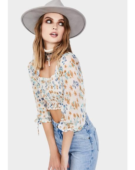 Ivory Long Sleeve Floral Crop Top