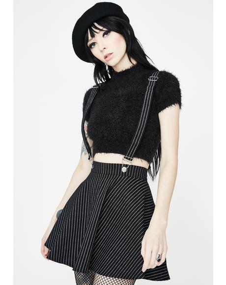 Stripes N Suspenders Mini Skirt