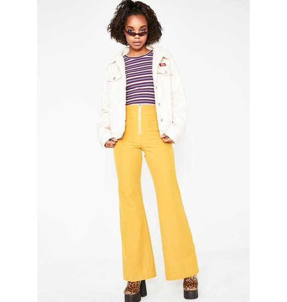 Honey Punch Sunflower Dreamy Energy Flare Pants